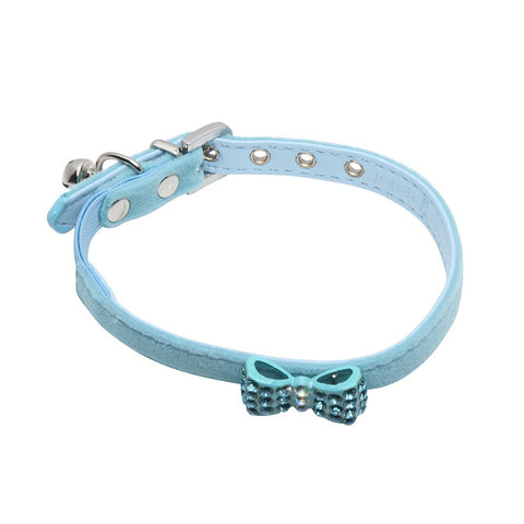 Rufus & Coco Diamante Bow Cat Collar - Blue