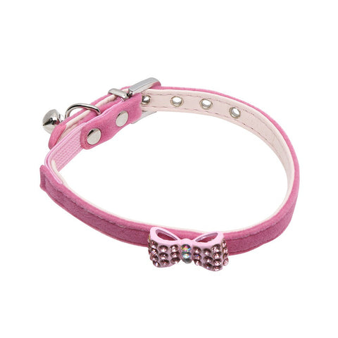 Rufus & Coco Diamante Bow Cat Collar - Pink