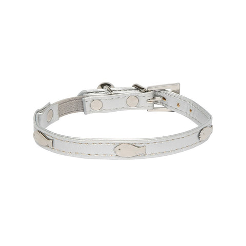 Rufus & Coco Fish Stud Cat Collar - Silver