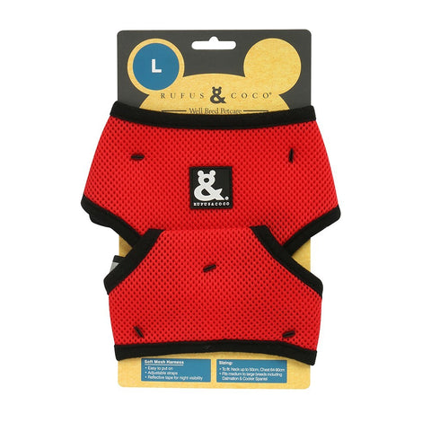 Rufus & Coco Soft Mesh Dog Harness - Red
