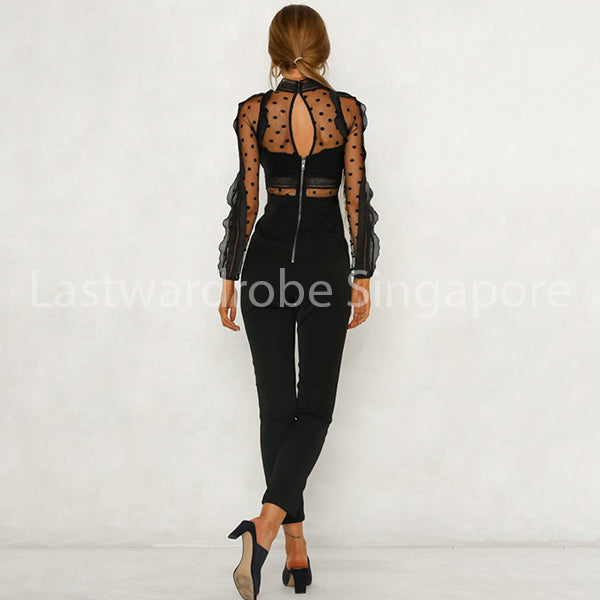 Korean Denise Print Sheer Mesh Jumpsuit