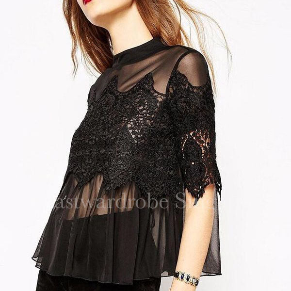 Korean Hollow Out Lace Patchwork Woman Blouse