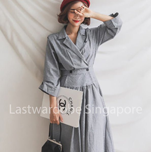 Korean Ginett Lapel Asymmetrical Dress