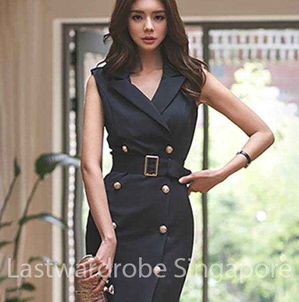 Korean Kimberly Double Breasted Tailored Dress