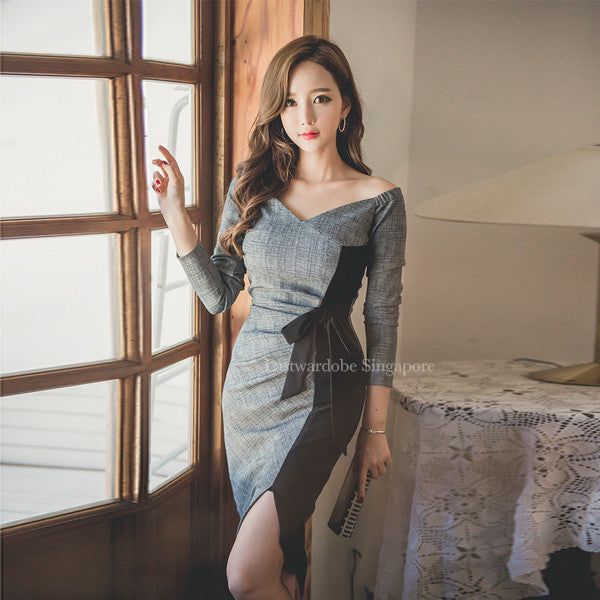 Korean Noble Fashion Patchwork Boat Neck Sexy Dress