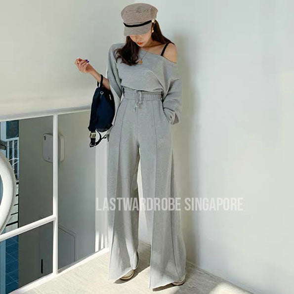 Korean Alley Boat Neck Two Piece Pants Set