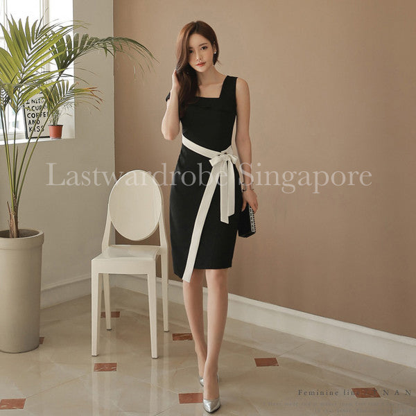 Korean OL Style Bandage Women's Dress