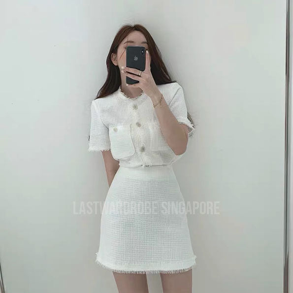 Korean Sophie Tweed Two Piece Skirt Set