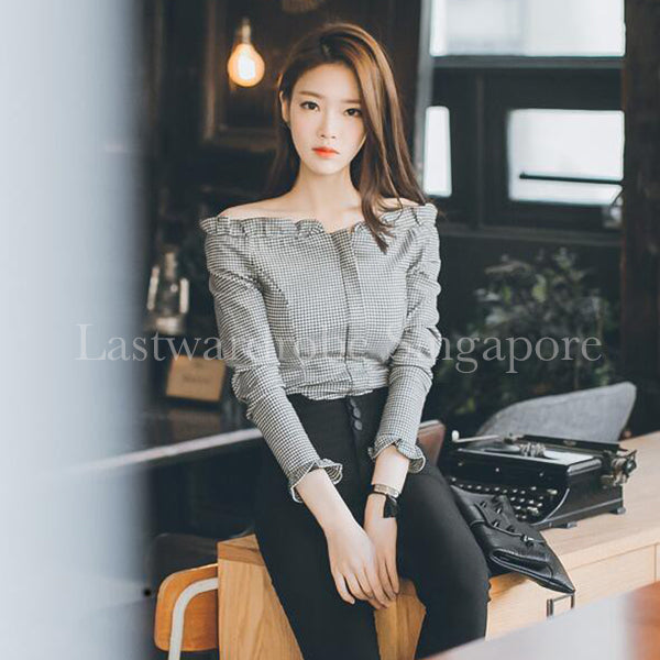 Korean Boat Neck Checkered Blouse