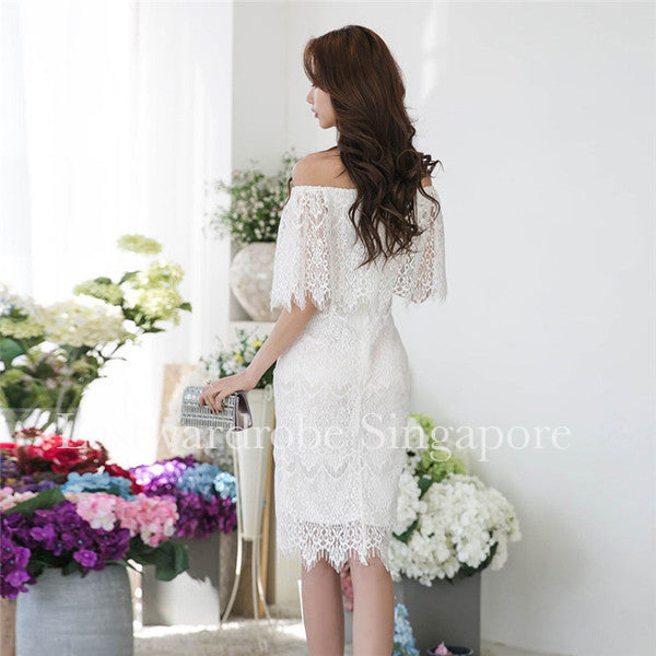 Korean Boat Neck Wrap White Lace Dress