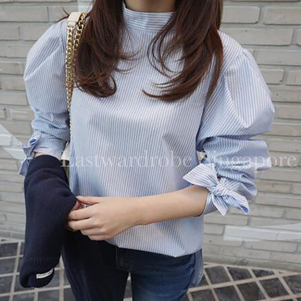 Korean Striped Puff Sleeve Blouse
