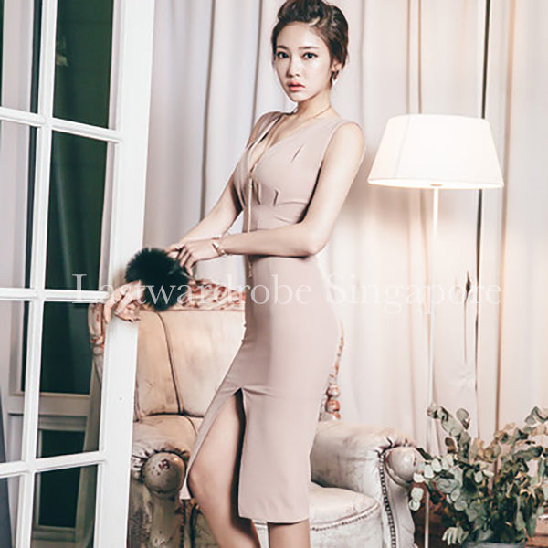 Korean V Neck Cotton Zipper Dress