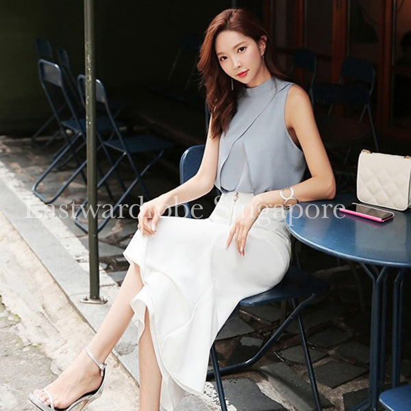 Korean Two Piece Set Sleeveless Top with Flare Pant