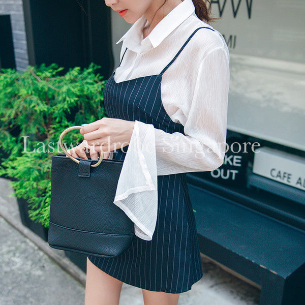 Korean Flare Sleeve Striped Two Pieces Dress