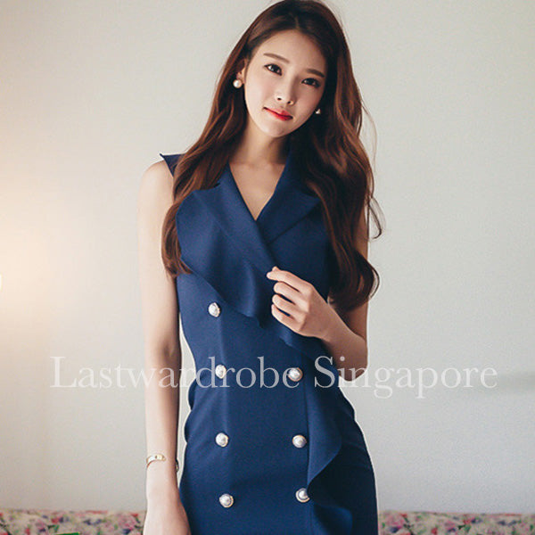 Korean Ruffles Hem Double Breasted OL Dress