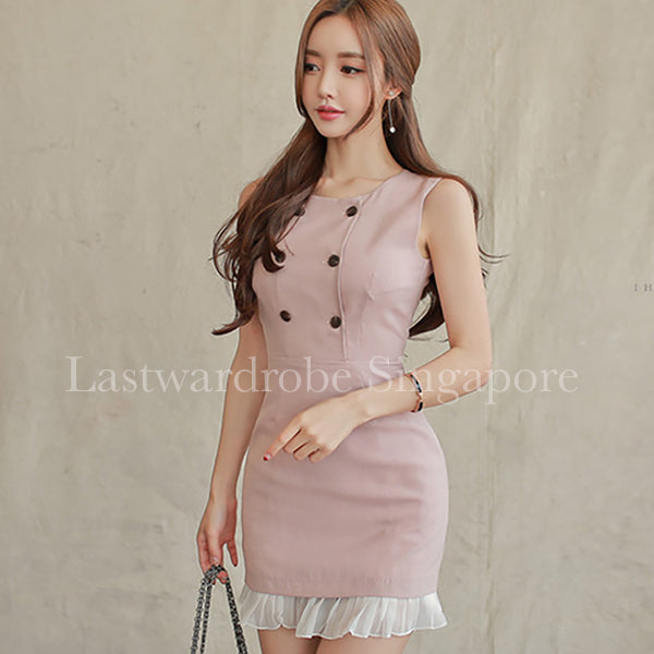 Korean Lynette Double Breasted Sleeveless Wrap Dress