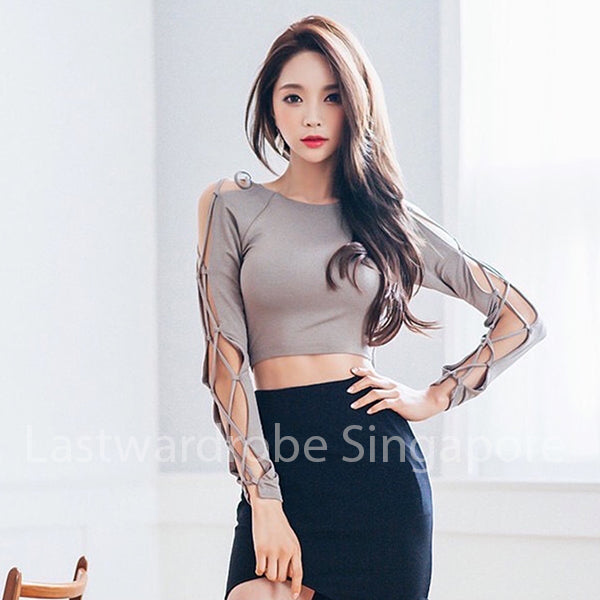 Korean Chic Diana Bandage Sleeve Fitted Blouse