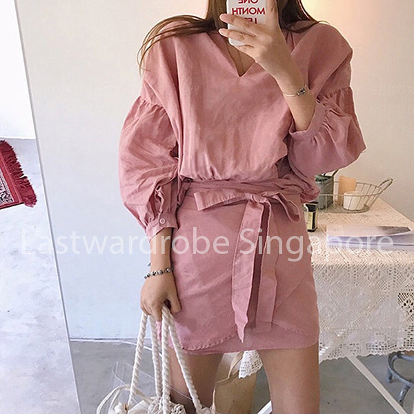Korean Jacqueline Puffy Sleeve Shirt Dress