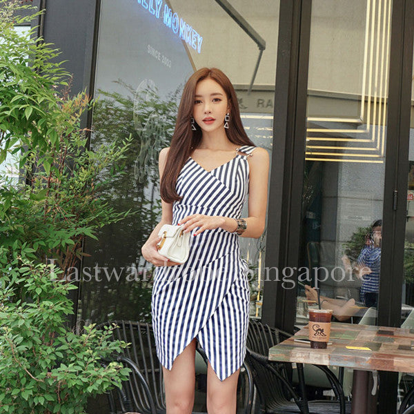 Korean Dean Crossover V Neck Stripe Dress