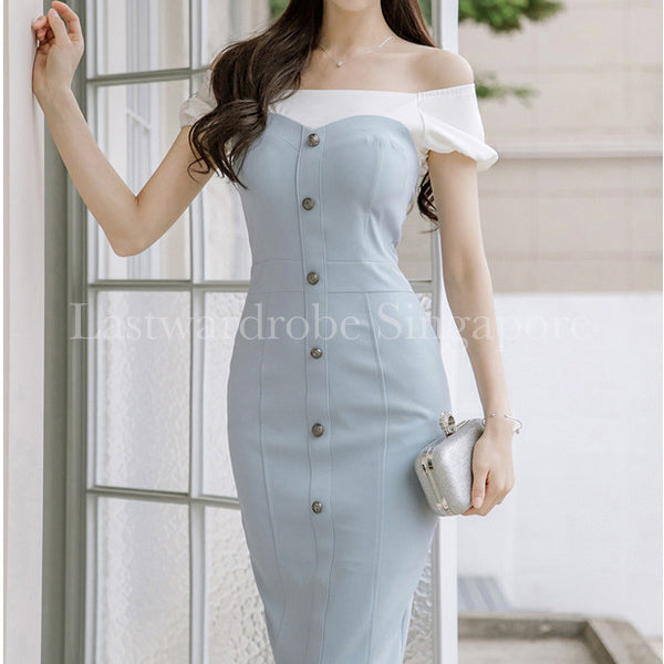 Korean Grace Pencil Midi Dress