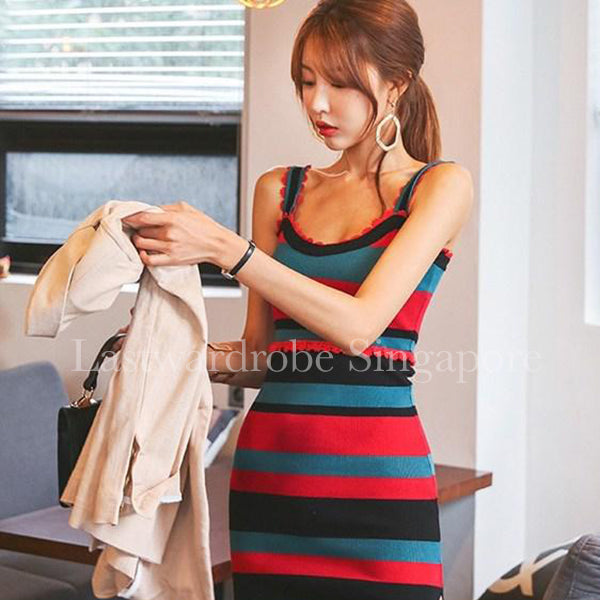 Korean Ariana Stripe Bodycon Dress