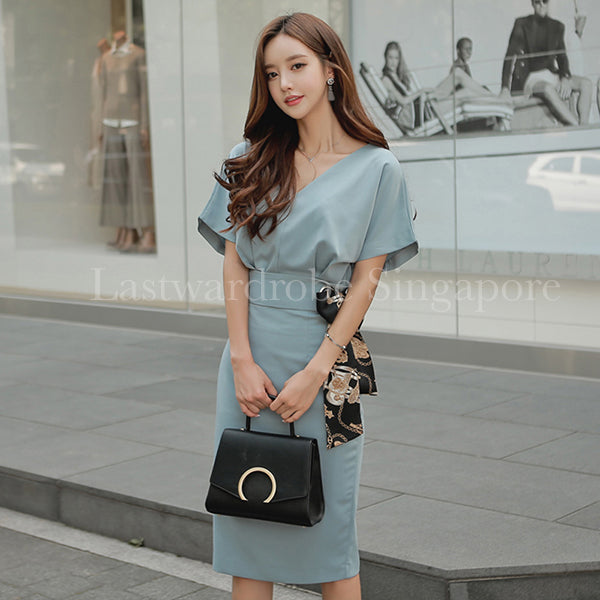 Korean Jade Two Piece Bodycon Dress