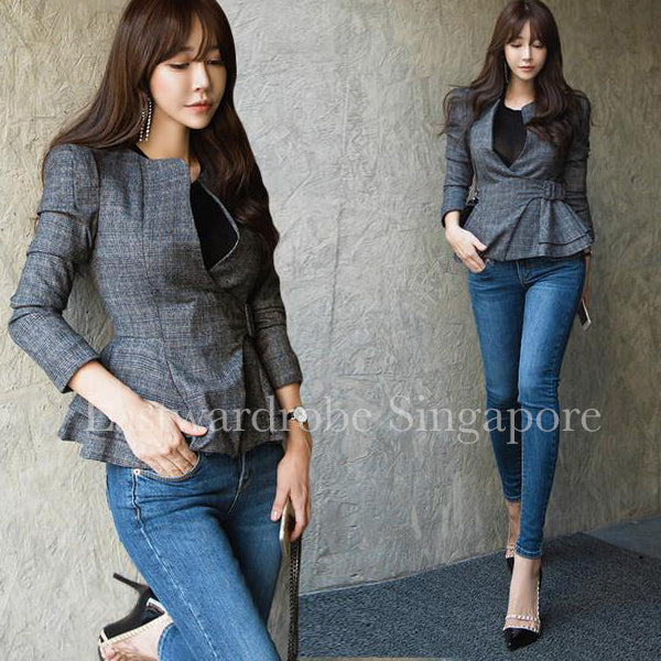 Korean Sheila Plaid Coat