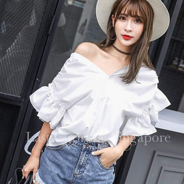 Korean Bella Ruffle Asymmetrical Blouse