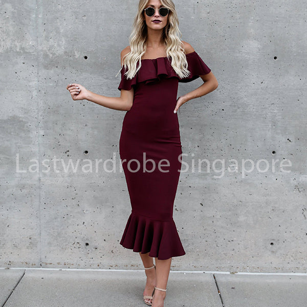Korean Matalia Ruffle Boat Neck Maxi Dress