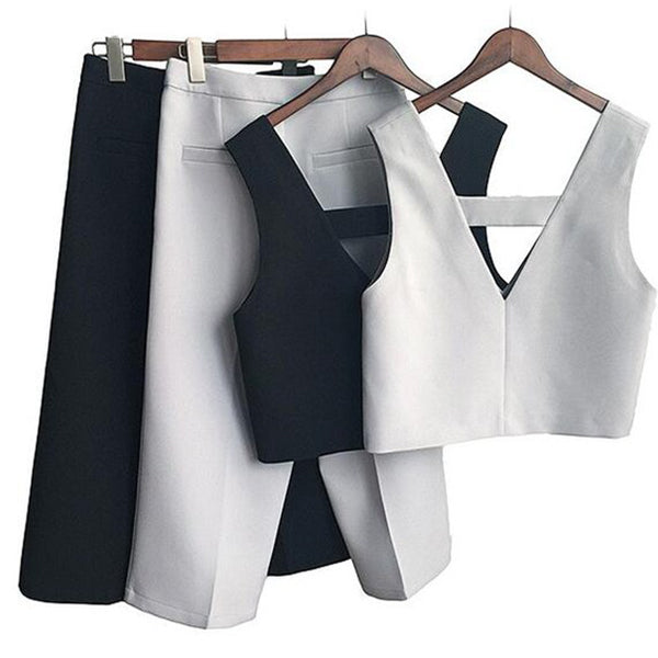 Korean Style Vintage Style Ladies Suits V Neck Tanks With Loose Pant