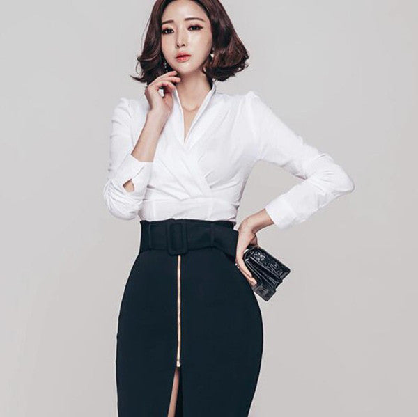 Korean Long Sleeve Stand Collar OL Blouse