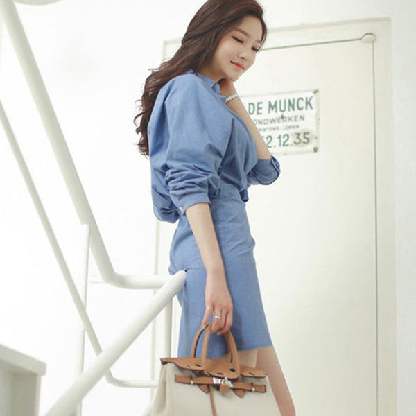 Korean Sexy V Neck Self Tie OL Blue Dress