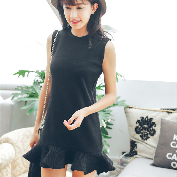 Korean Style Sweet Mermaid O Neck Knitted Two-piece Short Dress