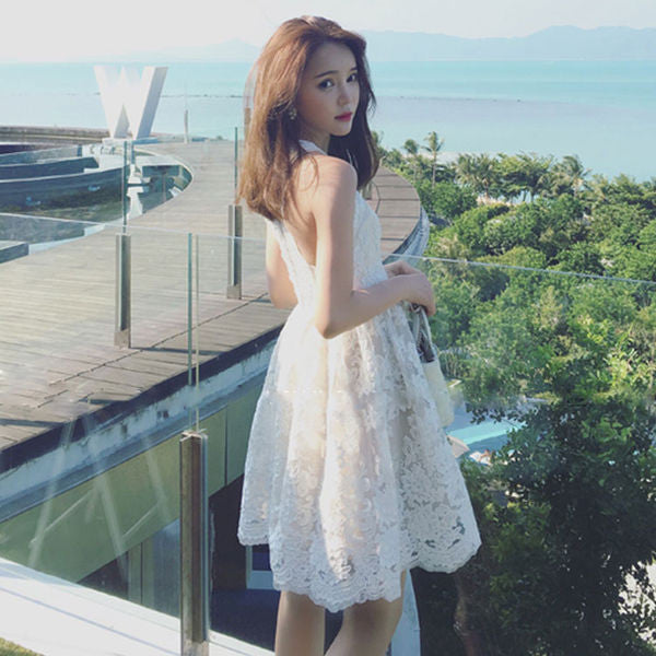 Korean Style Sweet O Neck Floral White Lace Dress