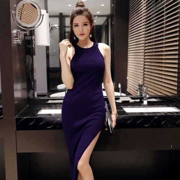 Korean Style Knitted Long Bodycon Dress