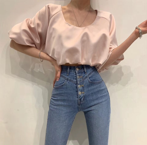 Korean Erelle Puffy Sleeve SAtin Cropped Top