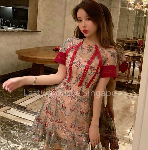 Korean Beverly Oriental Floral Dress