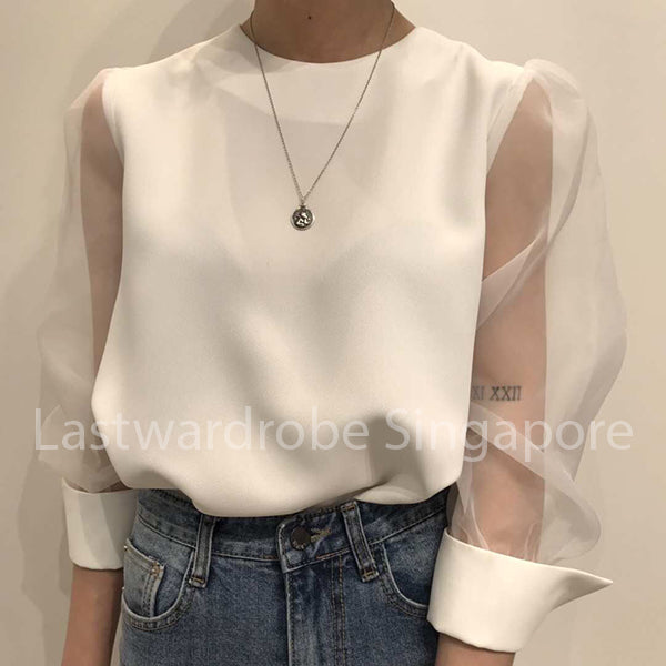 Korean Gauze Sleeve Blouse