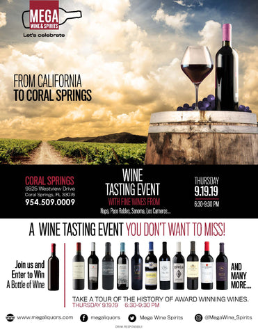 From California to Coral Springs Wine tasting event! With all different types of wine from California such as Napa, Paso Robles, Sonoma, Los Carneros and many more. Remember to drink responsibly. Event is free for anyone 21+!