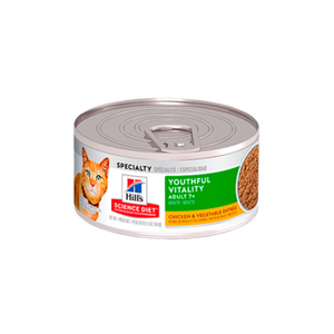 Hills Science Diet Adult 7+ Youthful Vitality Chicken & Vegetable Entreé Lata - Alimento Húmedo para Gatos
