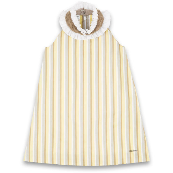 yellow stripped cotton dress for kids