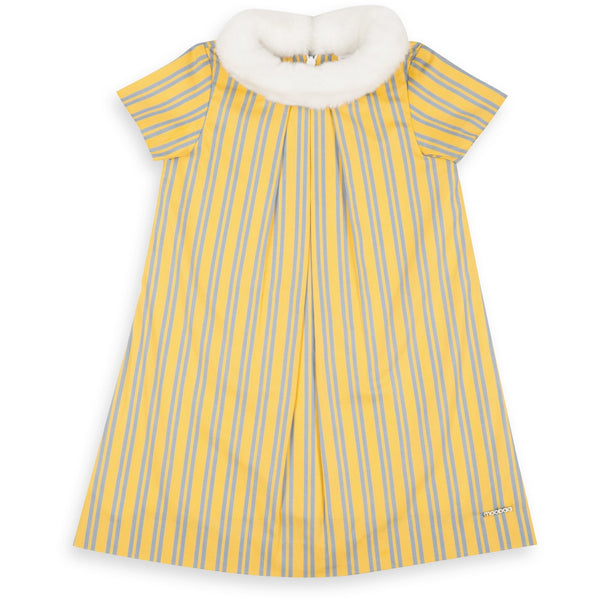 yellow stripped cotton kids dress