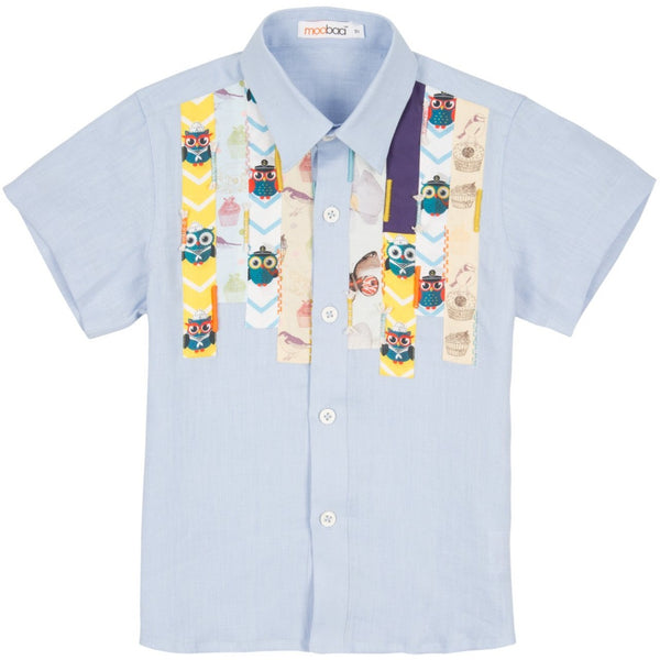 Blue linen shirt with printed patchwork