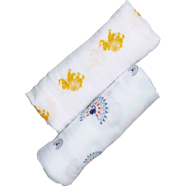 set  2 Organic cotton swaddle with elephant and peacock print