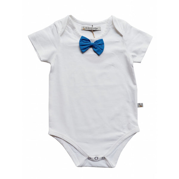 White overlap shoulder onesie with attached blue bow tie - Nick & Nishka