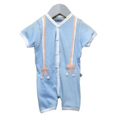 Blue front open onesie with appliqued suspenders for infant boys - Nick & Nishka