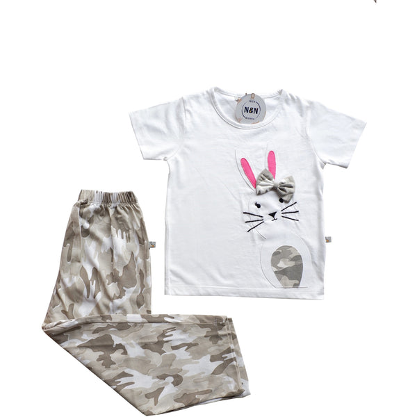 Bunny Tee And Camo Printed Pants - Nick & Nishka