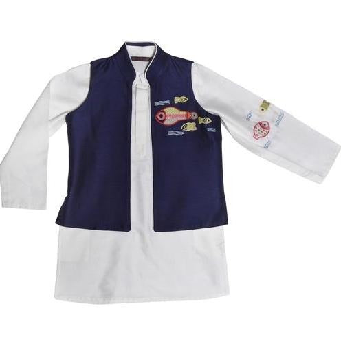 Indian Kurta wear for kids white and navy blue