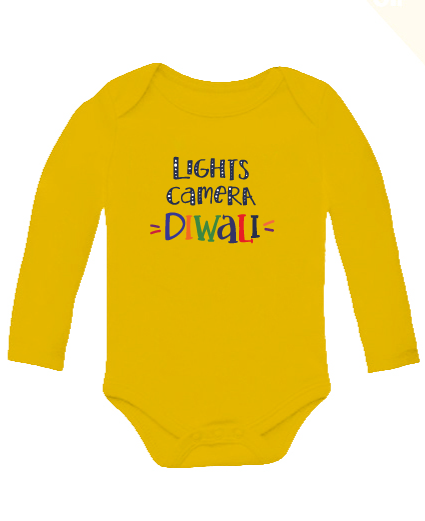 Light Camera Diwali full sleeves bodysuit - Nick & Nishka