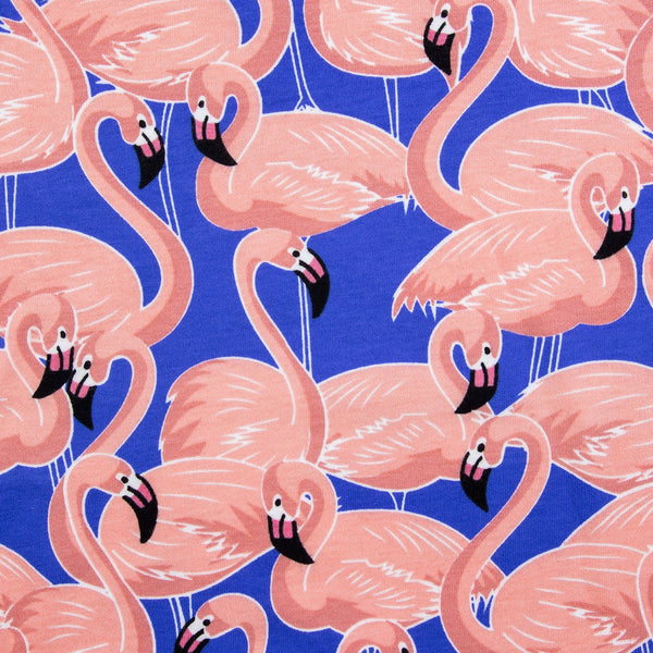flamingo print in blue and pink